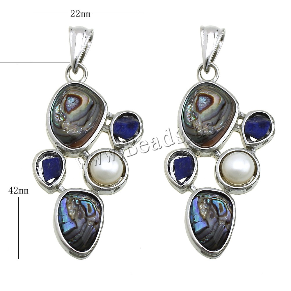 Buy Shell Pendants Brass Natural Lapis Lazuli & Abalone Shell & Freshwater Pearl platinum color plated natural nickel lead & cadmium free 22x42x5.50mm Hole:Approx 3x7mm 2 Sold Lot