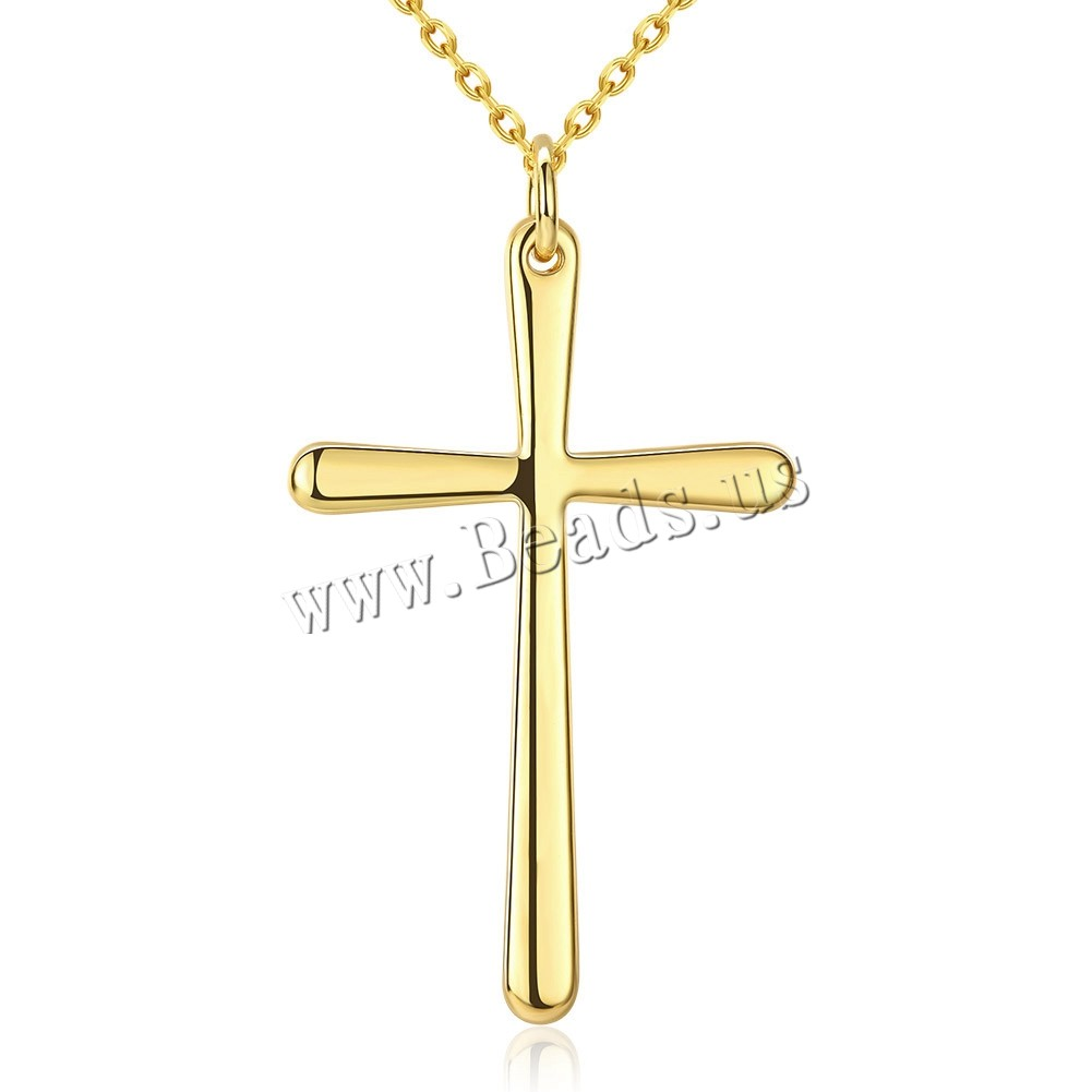 Comeon® Jewelry Necklace Zinc Alloy 2.5 lnch extender chain Cross real gold plated oval chain nickel lead & cadmium free 29x52mm Sold Per Approx 18 Inch Strand