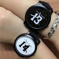 Ehepaar Uhrenarmbänder, PU Leder, mit Zinklegierung Zifferblatt & Glas, plattiert, verschiedene Stile für Wahl & für paar, 40.5mm, 19mm, Länge:ca. 9.8 ZollInch, verkauft von PC