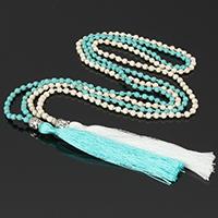 Buddhistischer Schmuck Halskette, Natürliche Türkis, mit Nylonschnur & Zinklegierung, QuasteTroddel, keine, 105mm,8.5x10x8mm,4mm, Länge:ca. 30 ZollInch, 5SträngeStrang/Menge, verkauft von Menge