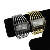 Manschette Uhr, Zinklegierung, mit Glas, plattiert, keine, frei von Nickel, Blei & Kadmium, 42x8.50mm, Innendurchmesser:ca. 57x46mm, Länge:ca. 6.5 ZollInch, 5PCs/Menge, verkauft von Menge