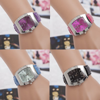 Damen Armbanduhr, Zinklegierung, mit PU Leder & Glas, Platinfarbe platiniert, einstellbar & mit Strass, keine, frei von Nickel, Blei & Kadmium, 45mm, 20mm, Länge:ca. 9.4 ZollInch, verkauft von PC