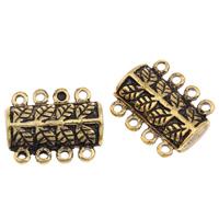 Zinklegierung Magnetverschluss, Rechteck, antike Goldfarbe plattiert, 4-Strang, frei von Blei & Kadmium, 17.50x14x6mm, Bohrung:ca. 1mm, verkauft von PC