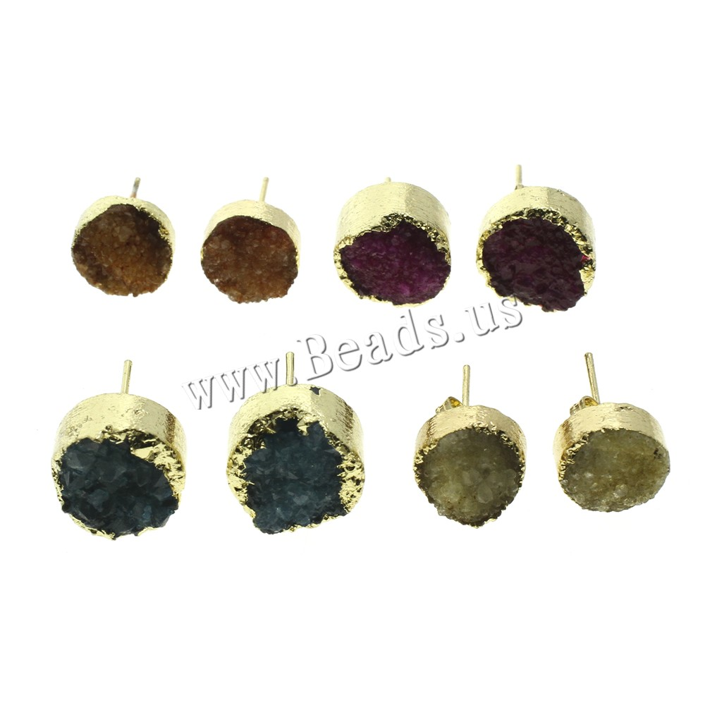 Buy Druzy Earring Ice Quartz Agate iron post pin Flat Round gold color plated natural & druzy style colors choice 10x18mm-14x18mm 50Pairs/Bag Sold Bag