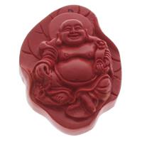 Zinnober Anhänger, Cinnabaris, Buddha, buddhistischer Schmuck, rot, 41x58x18mm, Bohrung:ca. 1.5mm, 10PCs/Tasche, verkauft von Tasche
