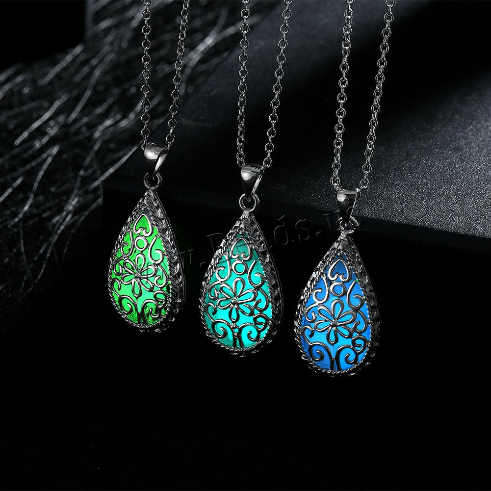 Comeon® Jewelry Necklace Zinc Alloy Fluorescent Powder Stone Teardrop real silver plated oval chain & luminated & hollow colors choice nickel lead & cadmium free 16x37mm Sold Per Approx 19.6 Inch Strand