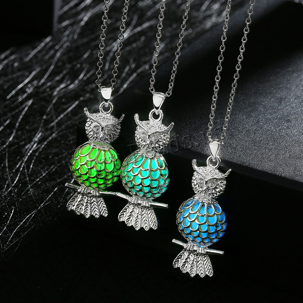 Buy Comeon® Jewelry Necklace Zinc Alloy Fluorescent Powder Stone Owl real silver plated oval chain & luminated & hollow colors choice nickel lead & cadmium free 20x23mm Sold Per Approx 19.6 Inch Strand