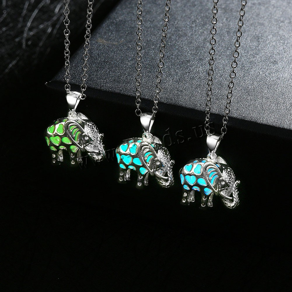 Buy Comeon® Jewelry Necklace Zinc Alloy Fluorescent Powder Stone Elephant real silver plated oval chain & luminated & hollow colors choice nickel lead & cadmium free 19x25mm Sold Per Approx 19.6 Inch Strand