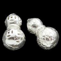 Messing hohle Perlen, Kalebasse, versilbert, frei von Blei & Kadmium, 9x16mm, Bohrung:ca. 1mm, verkauft von PC