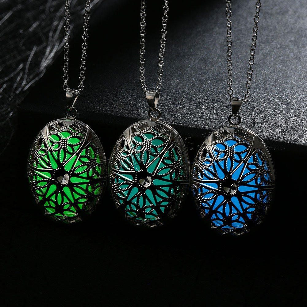 Buy Comeon® Jewelry Necklace Zinc Alloy Fluorescent Powder Stone Flat Oval real silver plated oval chain & luminated & hollow colors choice nickel lead & cadmium free 26x46mm Sold Per Approx 19.6 Inch Strand