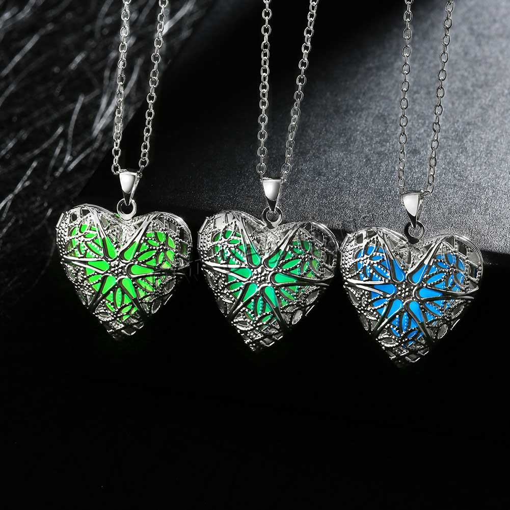Buy Comeon® Jewelry Necklace Zinc Alloy Fluorescent Powder Stone Heart real silver plated oval chain & luminated & hollow colors choice nickel lead & cadmium free 26x34mm Sold Per Approx 19.6 Inch Strand