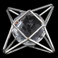 Eisen Cabochon, mit Kristall, Platinfarbe platiniert, facettierte, frei von Blei & Kadmium, 37x19mm, verkauft von PC