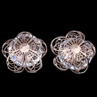 KRISTALLanhänger, Eisen, mit Kristall, Blume, Rósegold-Farbe plattiert, facettierte, frei von Blei & Kadmium, 24x13mm, verkauft von PC