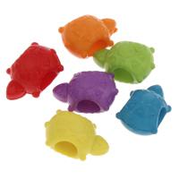 European Acrylperlen, Acryl, Schildkröter, großes Loch & Volltonfarbe, gemischte Farben, 9x14x8mm, Bohrung:ca. 5mm, ca. 950PCs/Tasche, verkauft von Tasche