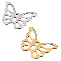 Edelstahl -Ergänzung-Kette Tropfen, Schmetterling, plattiert, keine, 14.50x10.50x0.50mm, Bohrung:ca. 1.1mm, 300PCs/Tasche, verkauft von Tasche