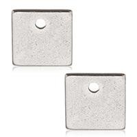 Edelstahl -Ergänzung-Kette Tropfen, Quadrat, originale Farbe, 7x7x0.50mm, Bohrung:ca. 1mm, 1000PCs/Tasche, verkauft von Tasche