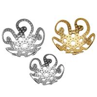 Edelstahl Perle Kappe, Blume, plattiert, verschiedene Größen vorhanden, keine, Bohrung:ca. 1mm, 400PCs/Tasche, verkauft von Tasche