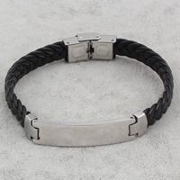 PU Schnur Armbänder, Edelstahl, mit PU Leder, schwarz, 11x43x3mm, verkauft per ca. 8.5 ZollInch Strang