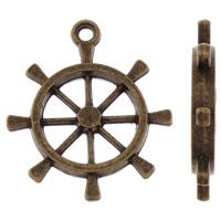 Zinklegierung Schiffsrad & Anker Anhänger, antike Bronzefarbe plattiert, nautische Muster, frei von Blei & Kadmium, 24x28x3mm, Bohrung:ca. 2mm, ca. 30PCs/Tasche, verkauft von Tasche
