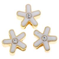 Zink Legierung Europa Perlen, Zinklegierung, Blume, goldfarben plattiert, Emaille & mit Strass, frei von Blei & Kadmium, 12x9mm, Bohrung:ca. 4mm, verkauft von PC