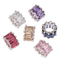 Messing European Perlen, Trommel, Platinfarbe platiniert, ohne troll & mit kubischem Zirkonia & facettierte, keine, frei von Blei & Kadmium, 6x10mm, Bohrung:ca. 5.5mm, verkauft von PC