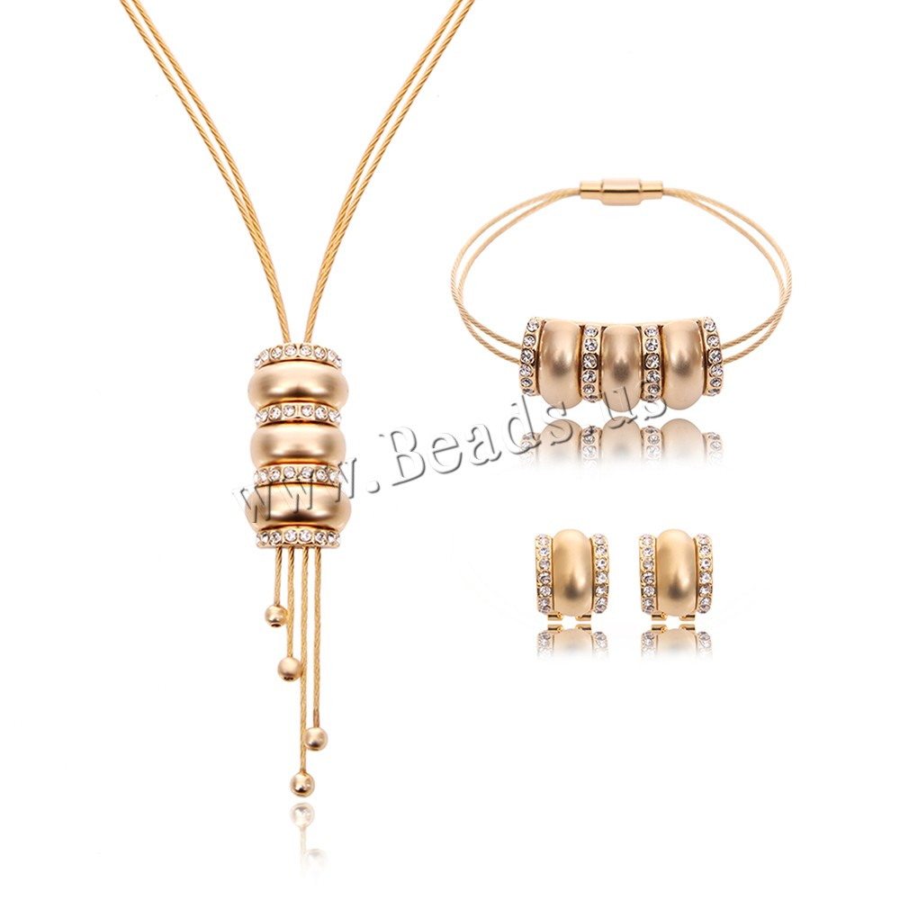 Buy Zinc Alloy Jewelry Sets bracelet & earring & necklace Tiger Tail Wire stainless steel post pin Drum gold color plated rhinestone lead & cadmium free 14x15mm 15x35mm 15x75mm Length:Approx 8 Inch Approx 16.5 Inch Sold Set