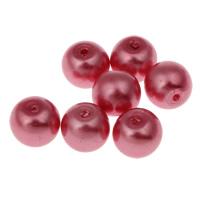 Perlmuttartige Glasperlen, rund, rot, 8mm, Bohrung:ca. 1mm, ca. 140PCs/Tasche, verkauft von Tasche