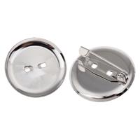 Eisen Broschen Zubehöre, flache Runde, Platinfarbe platiniert, verschiedene Größen vorhanden, frei von Blei & Kadmium, Bohrung:ca. 1.5mm, 10PCs/Tasche, verkauft von Tasche