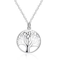 Baum des Lebens-Halskette, Messing, flache Runde, versilbert, Oval-Kette, frei von Nickel, Blei & Kadmium, 23x30mm, verkauft per ca. 17.7 ZollInch Strang