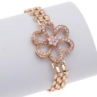 Messing Armband, Blume, goldfarben plattiert, mit kubischem Zirkonia, frei von Nickel, Blei & Kadmium, 26x34x6mm, verkauft per ca. 7 ZollInch Strang