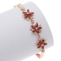 Messing Armband, Blume, goldfarben plattiert, mit kubischem Zirkonia, rot, frei von Nickel, Blei & Kadmium, 12x18x4mm, verkauft per ca. 7 ZollInch Strang