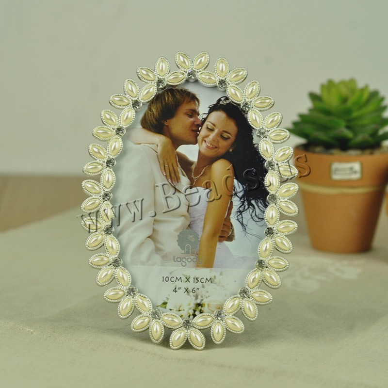 Buy Zinc Alloy Picture Frame ABS Plastic Pearl Flat Oval silver color plated rhinestone lead & cadmium free 170x120mm Inner Diameter:Approx 100x150mm 2PCs/Bag Sold Bag
