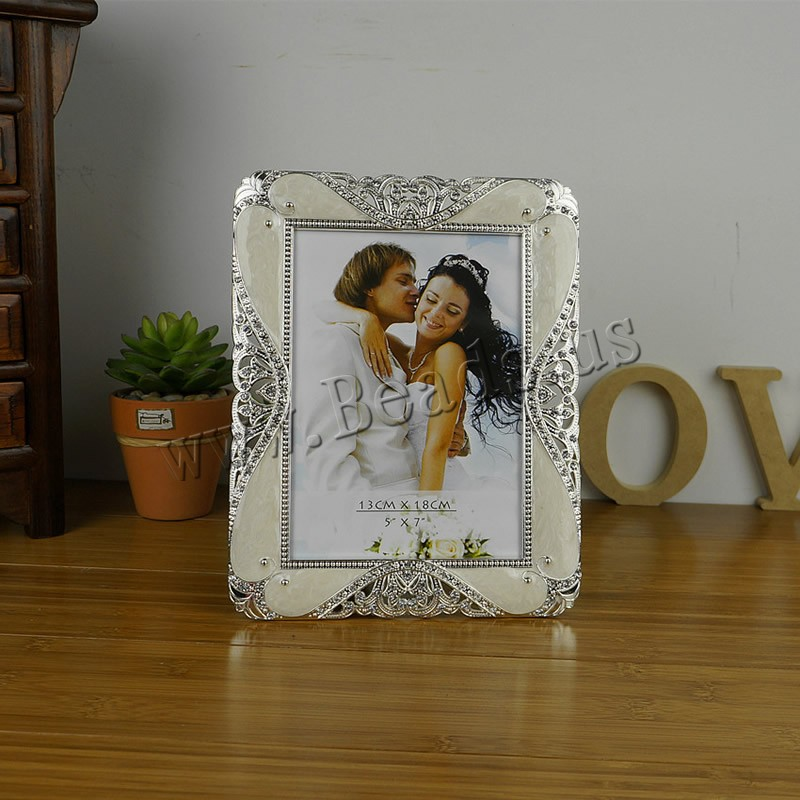 Buy Zinc Alloy Picture Frame Rectangle silver color plated epoxy sticker & rhinestone lead & cadmium free 175x225mm Inner Diameter:Approx 130x180mm 2PCs/Bag Sold Bag