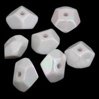Plattierte Acrylperlen, Acryl, Klumpen, bunte Farbe plattiert, imitiertes Porzellan, weiß, 11x12x7mm, Bohrung:ca. 1.5mm, ca. 1400PCs/Tasche, verkauft von Tasche