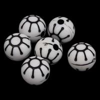 Antike Acrylperlen, Acryl, rund, antik imitieren, weiß, 12x11mm, Bohrung:ca. 2mm, ca. 500PCs/Tasche, verkauft von Tasche