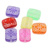 Transparente Acryl-Perlen, Acryl, Rechteck, transluzent, gemischte Farben, 10x12x5mm, Bohrung:ca. 1mm, ca. 1300PCs/Tasche, verkauft von Tasche