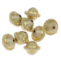 Plattierte Acrylperlen, Acryl, goldfarben plattiert, chemische-Waschanlagen, 12x10mm, Bohrung:ca. 1mm, ca. 900PCs/Tasche, verkauft von Tasche
