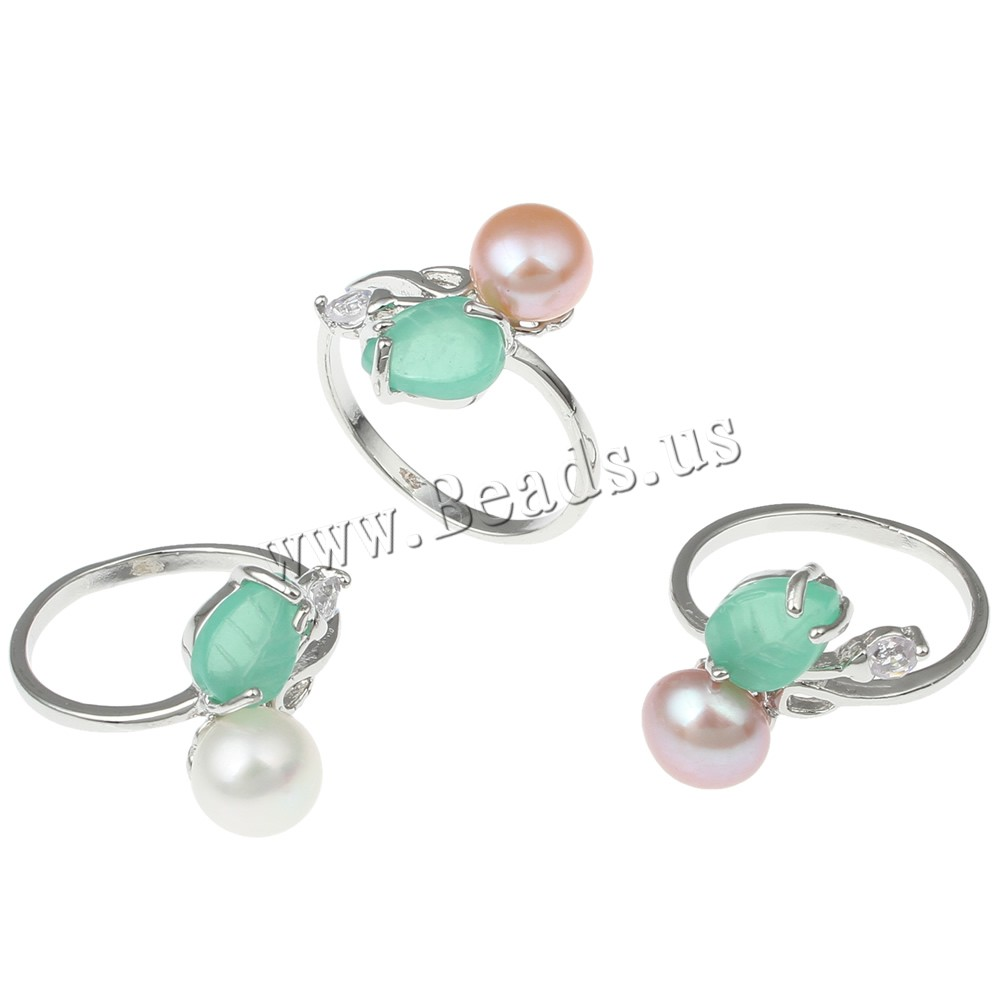 Buy Freshwater Pearl Finger Ring Brass Freshwater Pearl & Resin platinum color plated natural & cubic zirconia colors choice nickel lead & cadmium free 7-8mm 18x25x16mm US Ring Size:5.5 Sold Pair