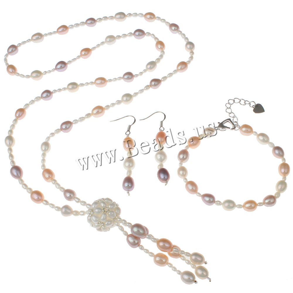 Buy Natural Cultured Freshwater Pearl Jewelry Sets sweater chain necklace & bracelet & earring Brass 4cm extender chain platinum color plated multi-colored 6-7mm 16x54x7mm Length:Approx 25.5 Inch Approx 6 Inch Sold Set