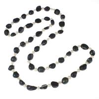 Natürliche Süßwasser Perle Halskette, Natürliche kultivierte Süßwasserperlen, mit Verlängerungskettchen von 5cm, Barock, zweifarbig, 6-7mm, 10-11mm, verkauft per ca. 33.5 ZollInch Strang