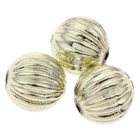 Plattierte Acrylperlen, Acryl, rund, goldfarben plattiert, gewellt, 13mm, Bohrung:ca. 1mm, ca. 400PCs/Tasche, verkauft von Tasche