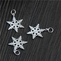 Anhänger aus Sterling Silber Weihnachten, 925 Sterling Silber, Schneeflocke, 16x20.70mm, Bohrung:ca. 2mm, 10PCs/Menge, verkauft von Menge