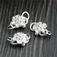 Sterling Silber S-Haken Verschluss, 925 Sterling Silber, Blume, 9x16mm, Bohrung:ca. 3mm, 5PCs/Menge, verkauft von Menge