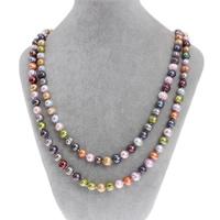 Natürliche Süßwasser Perle Halskette, Natürliche kultivierte Süßwasserperlen, Kartoffel, farbenfroh, 8-9mm, verkauft per ca. 47 ZollInch Strang