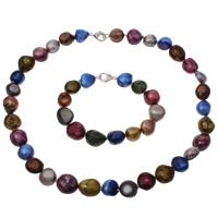 Natürliche kultivierte Süßwasserperlen Schmucksets, Armband & Halskette, Klumpen, farbenfroh, 10-15mm, Länge:ca. 17 ZollInch, ca. 7 ZollInch, verkauft von setzen