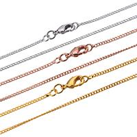 Messingkette Halskette, Messing, plattiert, Twist oval, keine, frei von Nickel, Blei & Kadmium, 1.60x1.40x0.70mm, Länge:ca. 17.5 ZollInch, 50SträngeStrang/Menge, verkauft von Menge