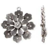 Zinklegierung Blume Anhänger, antik silberfarben plattiert, mit Strass, frei von Blei & Kadmium, 51x57x7mm, Bohrung:ca. 3mm, verkauft von PC