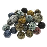Gewebte Glasperlen, PU Leder, mit Kunststoff, rund, handgemacht, gemischte Farben, 20mm, Bohrung:ca. 3mm, 100PCs/Tasche, verkauft von Tasche