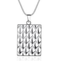 comeon® Schmuck Halskette, Messing, Rechteck, versilbert, Schlangekette, frei von Nickel, Blei & Kadmium, 42x24mm, verkauft per ca. 18 ZollInch Strang