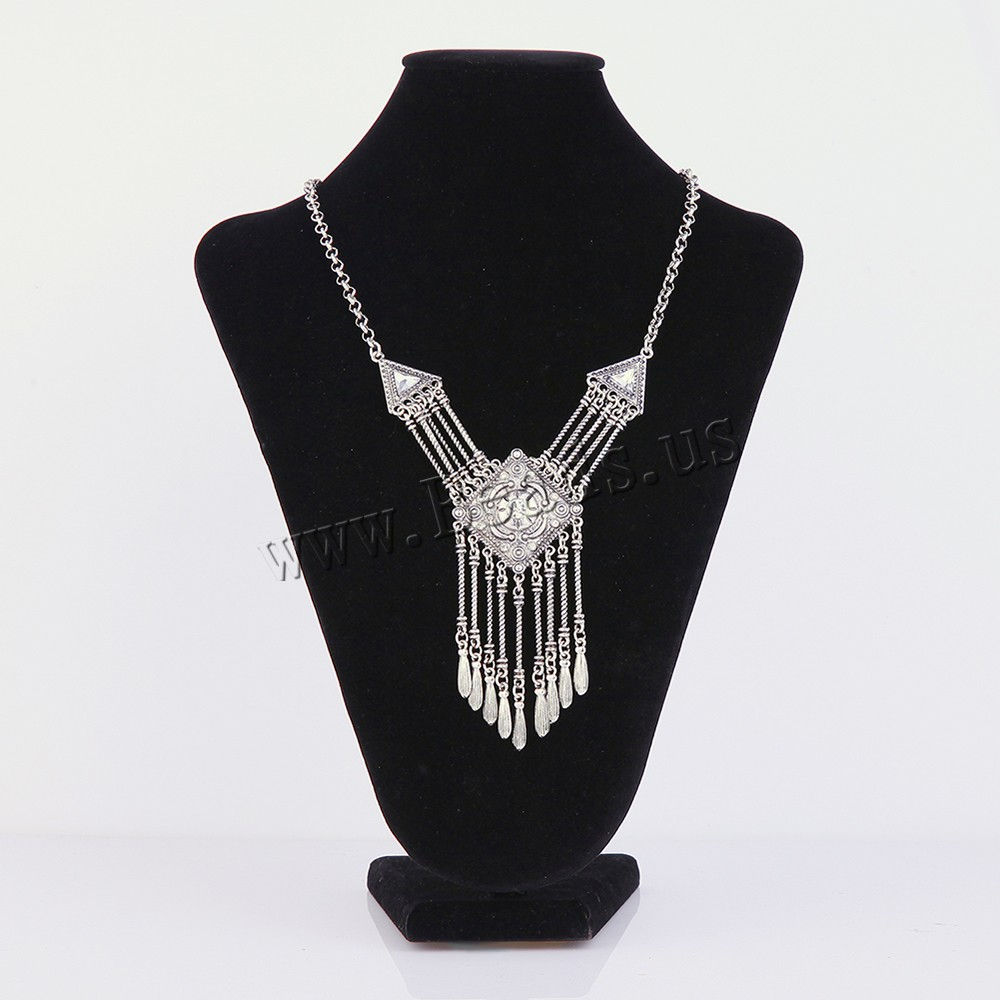 Buy Fashion Fringe Necklace Zinc Alloy iron chain & Crystal 5cm extender chain Rhombus antique silver color plated rolo chain & faceted & rhinestone lead & cadmium free 340x50mm Sold Per Approx 16.5 Inch Strand